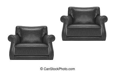 antiquité, chaise cuir, noir, isolé