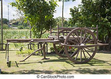 antiquité, chariot, vieux, roue
