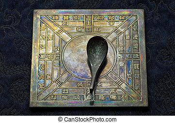 antiquité, chinois, cuillère, compas
