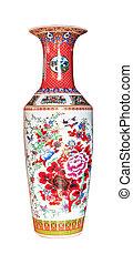 antiquité, chinois, isolé, vase, fond, blanc