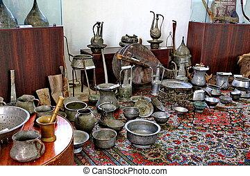 antiquité, choses, musée, stockées