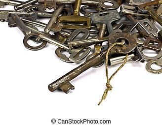 antiquité, clés réduites, fond, blanc, #1