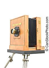 antiquité, classique, bois, photo, sur, appareil photo, blanc