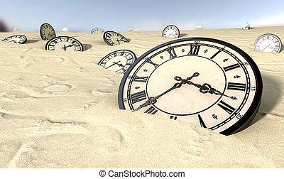 antiquité, clocks, dans, désert, sable