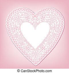 antiquité, coeur, blanc, dentelle, napperon