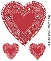 antiquité, coeur, doilies, dentelle, rouges
