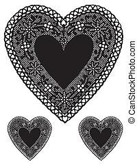 antiquité, coeur, doilies, noir, dentelle