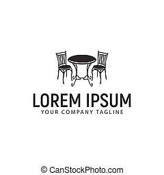 antiquité, concept, conception, gabarit, bureau, logo, chaise