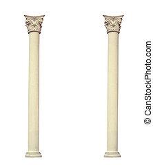 antiquité, corinthien, deux, fond, blanc, ordre, colonnes