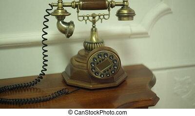 antiquité, couloir, table, téléphone, vendange