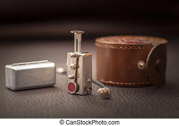 antiquité, coup, vendange, 1940, haut, appareil photo, ...