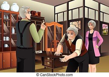 antiquité, couple, mûrir, achat, meubles