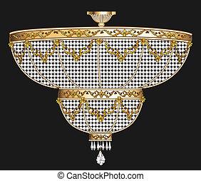 antiquité, cristal, lustre, pendentifs