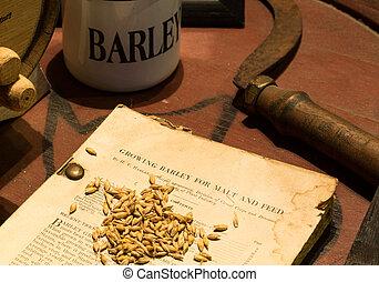 antiquité, croissant, baril, livre, orge