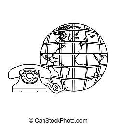 antiquité, croquis, silhouette, téléphone, mondiale, la terre