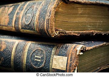 antiquité, cuir, deux, limite, livres, volumes