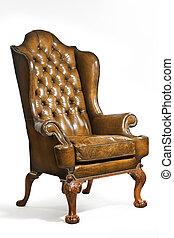 antiquité, cuir, isolé, découpé, jambes chaise, aile