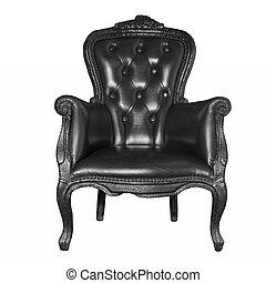 antiquité, cuir noir, chaise, isolé, blanc