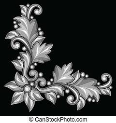 antiquité, décoratif, or, élément, arrière-plan., noir, baroque