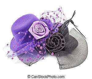 antiquité, dames, fleur, pourpre, chapeaux, isolé, noir