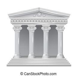 antiquité, devant, grec, vecteur, temple., vue