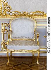 antiquité, doré, chaise