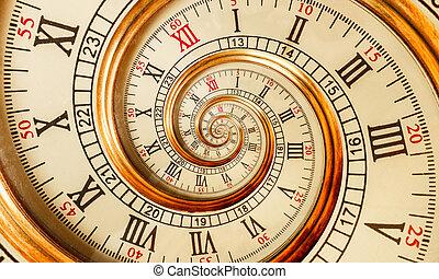antiquité, doré, inhabituel, mode, vieux, chiffres, modèle, résumé, horloge, montre, spirale, mécanisme, effet, arrière-plan., romain, texture, temps, fractal., arabe, fractal