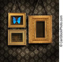 antiquité, doré, papier peint, trois, cadres