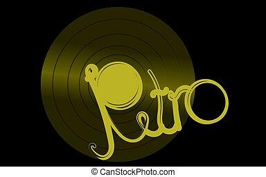 antiquité, doré, vieux, inscription, center., vendange, débordement, illustration, musical, enregistrement, vecteur, hipster, retro, fond, noir, phonographe, analogue, vinyle