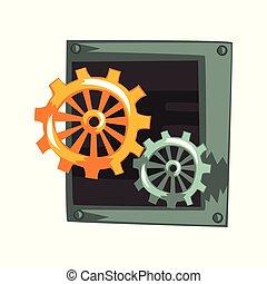 antiquité, engrenage, steampunk, mécanisme, vecteur, illustration, fond, dispositif mécanique, blanc, ou, roues