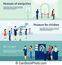 antiquité, ensemble, bannières, archéologique, musée, plat