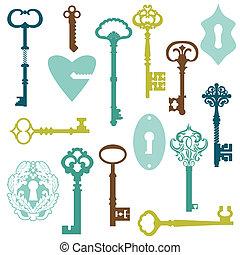 antiquité, ensemble, clés, -, ton, serrures, vecteur, conception, album, ou