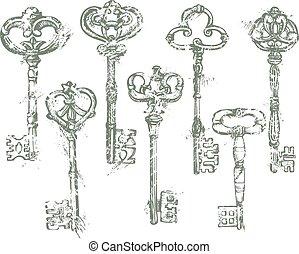 antiquité, ensemble, grunge, clés, vendange, isolé, fond, blanc, style.
