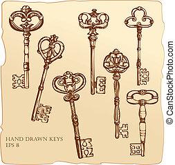 antiquité, ensemble, keys.