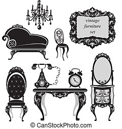 antiquité, ensemble, meubles