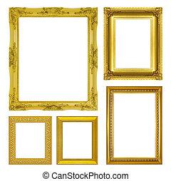antiquité, ensemble, or, cadre, isolé, fond, blanc