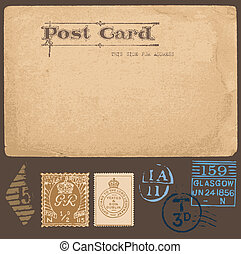 antiquité, ensemble, timbres, vecteur, cartes postales, postal