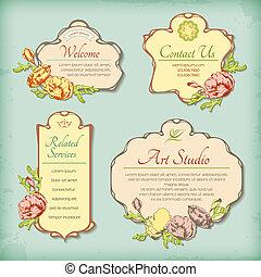 antiquité, ensemble, vendange, étiquettes, appelé, fleurs