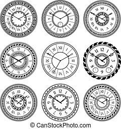 antiquité, ensemble, vendange, isoler, wall., montre, vecteur, white., images, clocks