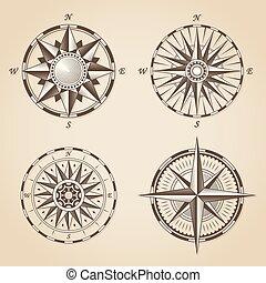 antiquité, ensemble, vieux, vendange, nautique, signes, vecteur, roses., compas