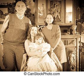 antiquité, famille heureuse, portrait