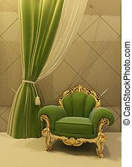 antiquité, fauteuil, intérieur, luxueux
