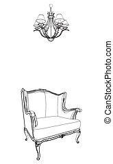antiquité, fauteuil, lustre