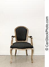 antiquité, fauteuil, mur