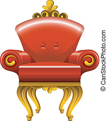 antiquité, fauteuil, rouges