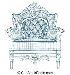 antiquité, fauteuil, vecteur, 20.eps