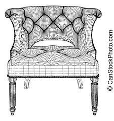 antiquité, fauteuil, vecteur