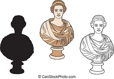 antiquité, femme, buste