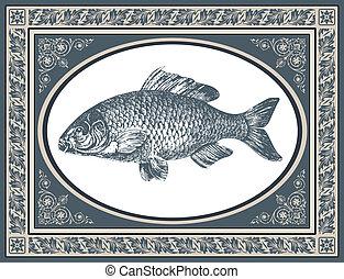 antiquité, fish, vecteur, illustration