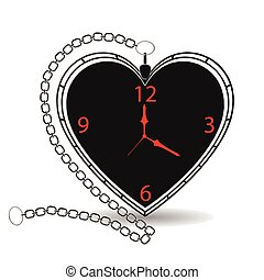 antiquité, forme coeur, montre, poche